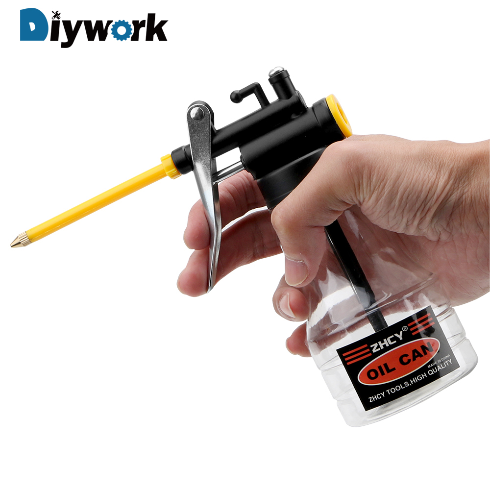 DIYWORK 250ML High Pressure Oiler Grease Flex Gun Oil Pump Cans Hand Tools Lubricator Clear Oil Can