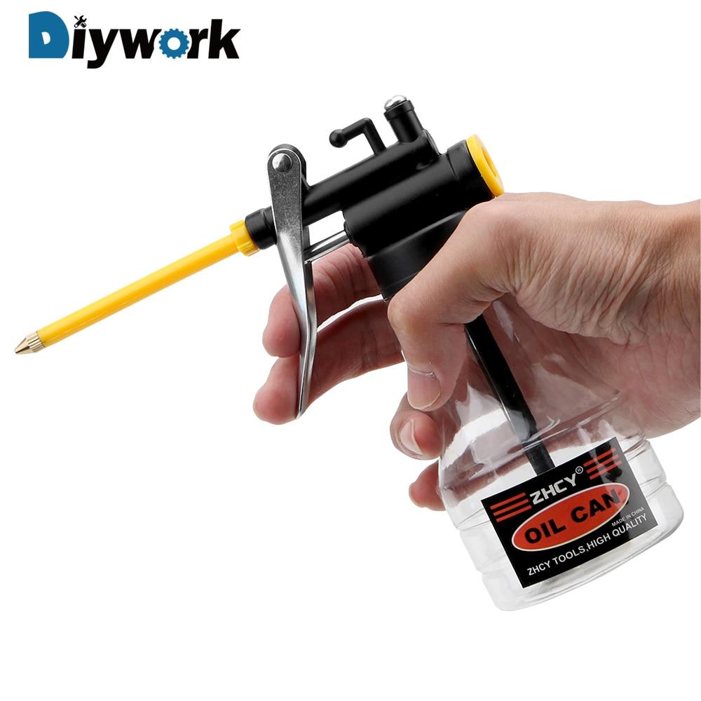 DIYWORK 250ML High Pressure Oiler Grease Flex Gun Oil Pump Cans Hand Tools Lubricator Clear Oil Can