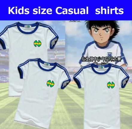 Kids Chidlren Youth Soccer Cotton Casual Shirts Oliver Atom trikots Captain Tsubasa,ATON blue football Japanese shirts 1