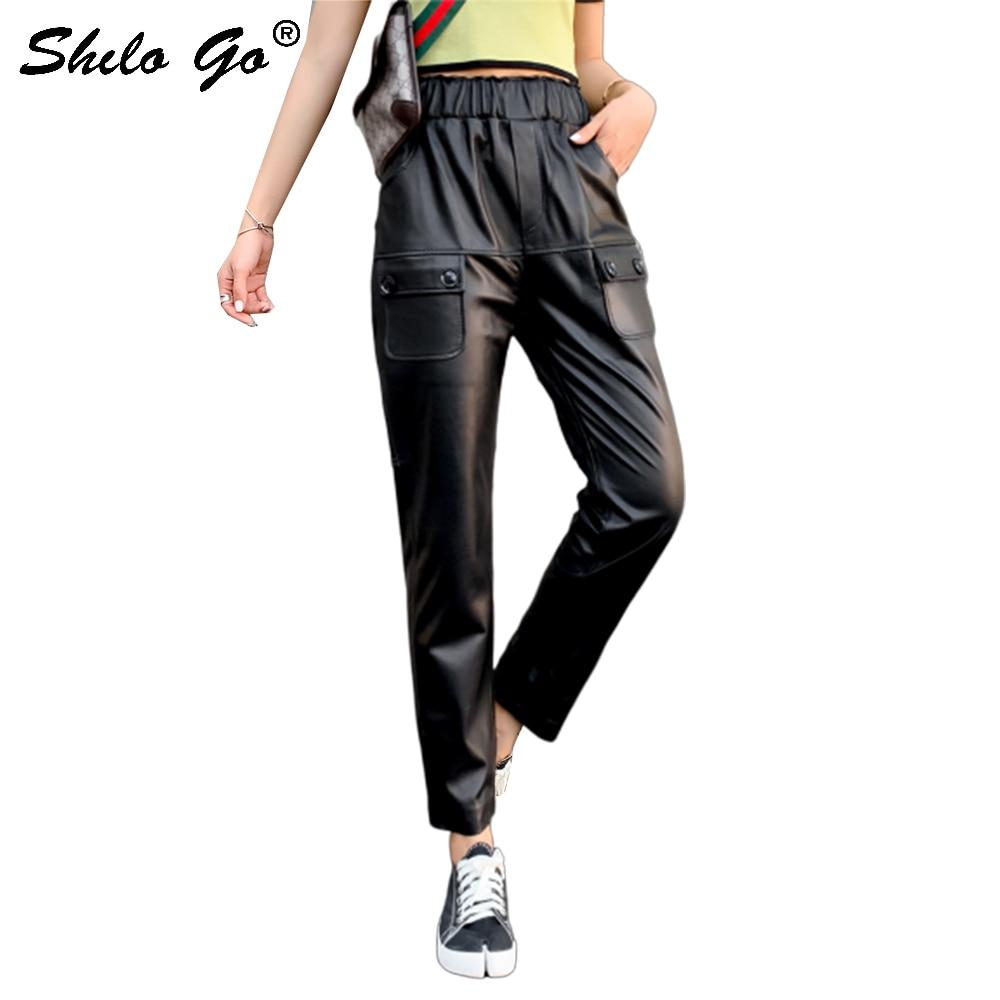 Pantalon en cuir véritable élastique taille haute bouton rabat poche côté crayon pantalon femmes automne décontracté Streetwear en cuir pantalon