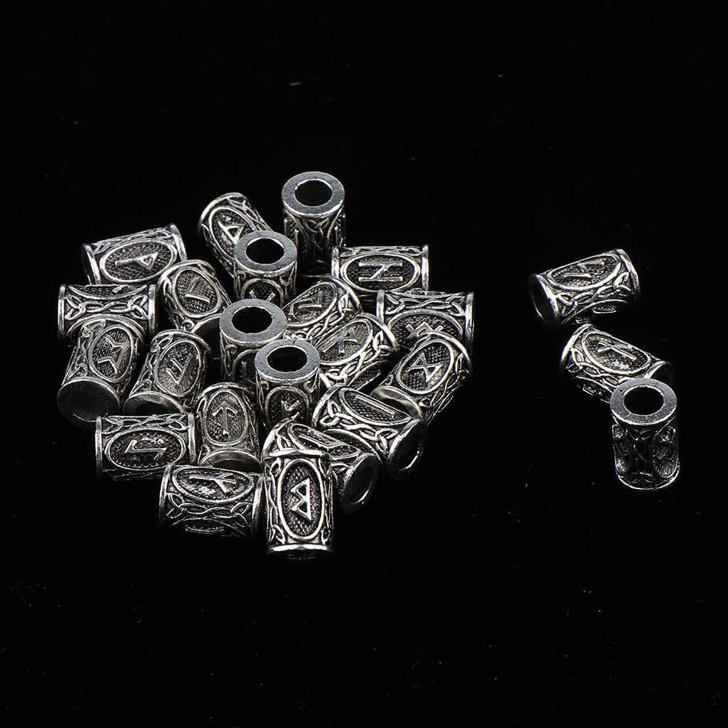 24 قطعة أنبوب الشعر حبة الفايكنج الرونية الخرز Dreadlock تجديل مجوهرات اللحية الشعر ديكور اكسسوارات التصميم