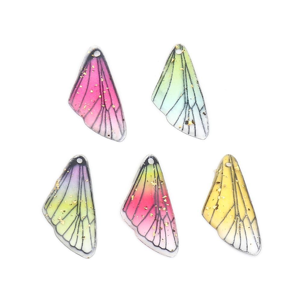 Caixa de doreen moda borboleta resina colorida inseto encantos asa cor ouro folha diy fazendo brincos jóias 25mm x 12mm, 10 pçs