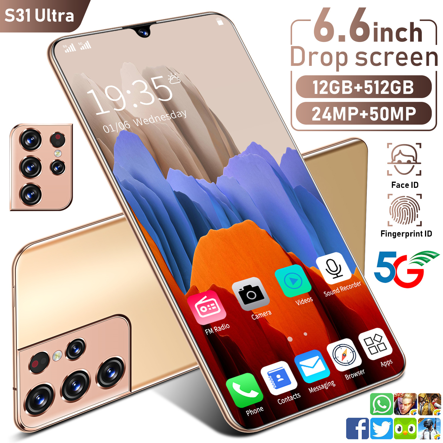 2021 Hot Global Version S31 Ultra 6.6 Inch Smartphone 6000mAh 12+512GB Face ID Fingerprint Unlock Dual SIM GPS 5G Mobilephone