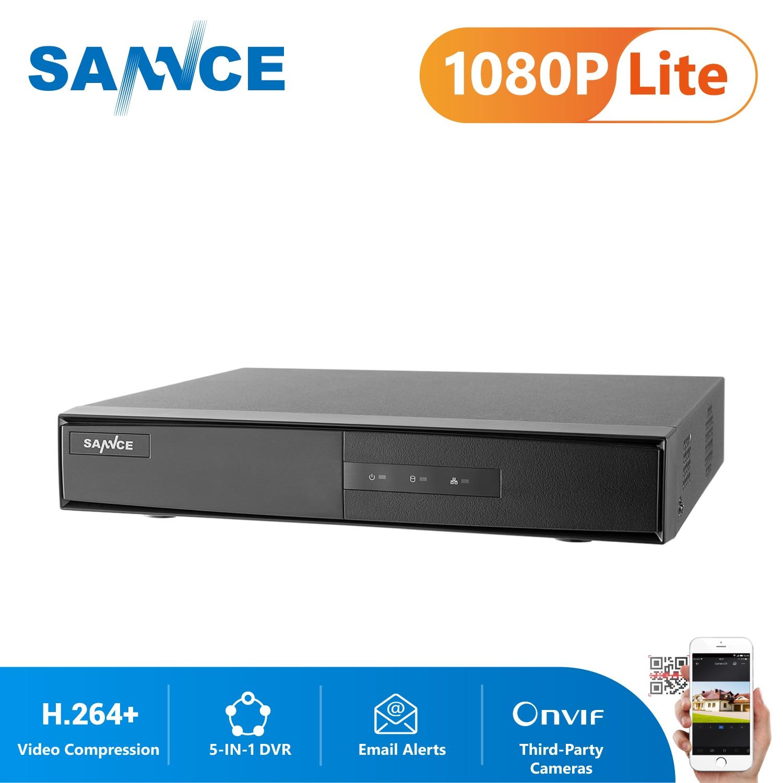 SANNCE 4 canaux 8 canaux TVI DVR AHDM 5-en-1 1080N sécurité CCTV DVR 4CH 8CH Mini hybride HDMI DVR prise en charge analogique/AHD caméra