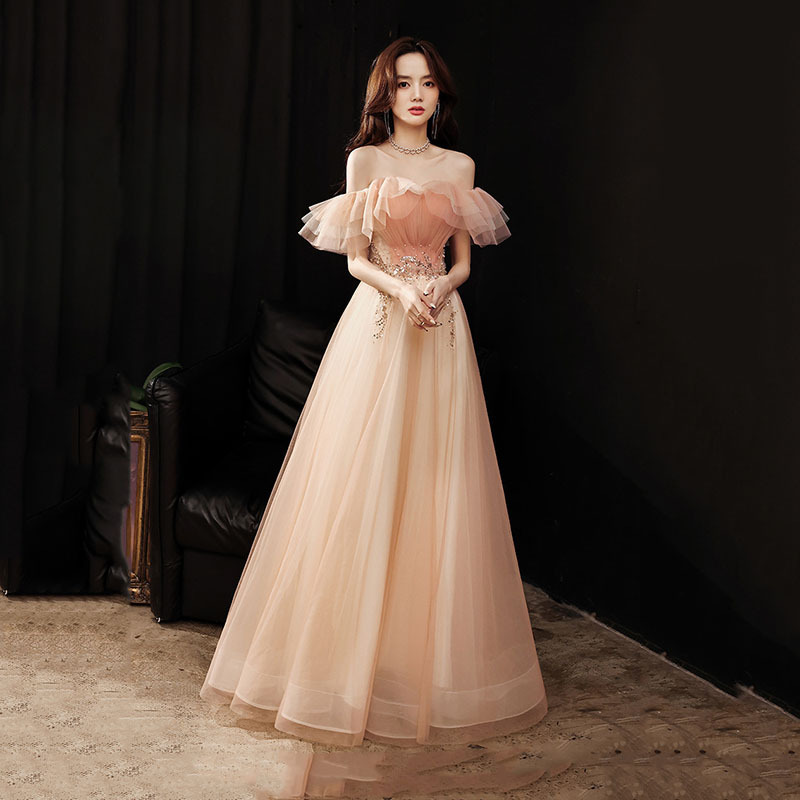 Banquet evening dress French style 2021one-shoulder bridesmaid dress atmospheric and dignified pink Slim annual party dress A022