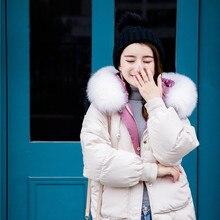 Женская зимняя куртка с воротником из натурального Лисьего меха, женский свободный короткий пуховик, куртка на белом утином пуху, плотный теплый пуховик