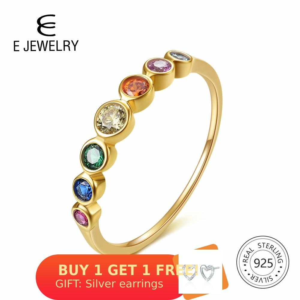 E 925 Sterling Silver Rainbow Gemstones Ring For Women 14K Gold Plated Silver Jewelry Rings Color Cubic Zirconia Wedding Rings