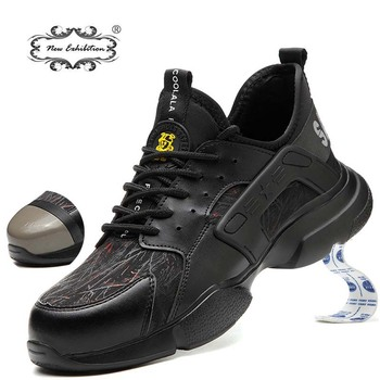 New exhibition Fashion safety shoes Men Steel Toe Cap Anti-smashing Construction Work Boots Pierce resistant Safety Work Sneaker new exhibition fashion safety shoes men s breathable mesh anti smashing piercing lightweight steel toe cap wear site work shoes