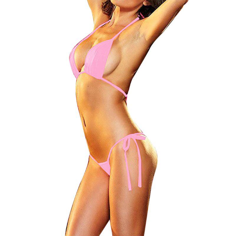 Sexy Womens Micro Thong G String Brazilian Mini Top Bra Bikini Swimsuit Swimwear F42F