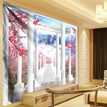 300cm Decorative Tapestry 3D Wall Hanging Pink Flowers Boho Hippie Cloth Living Room Bohemian Decor