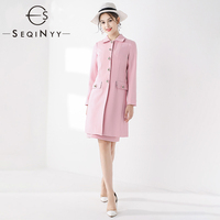 SEQINYY Long Coat 2020 Autumn Winter New Fashion Design Women Warm High Quality Romantic Lily Flowers Button Pure Pink Sweet Top