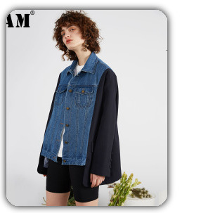 [EAM] 2020 New Spring Lapel Long Sleeve Solid Color Black Gray Split Joint Loose Big Size Jacket Women Fashion JC969 71