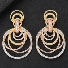 GODKI 유명한 2019 매력 트렌디 여성 귀걸이 모조 진주 AAA 큐빅 지르콘 드롭 귀걸이 여성용 결혼식 파티 액세서리