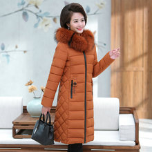 Winter Women Puffer Hooded Coats Black Brown Dark Red Fur Hood Puff Parkas Knee Length Quilted Basic Jacket Warm Padded Overcoat elderly women puffer jackets withe fur hood parka grandmother winter warm quilted basic coats floral printing quilted puff coat