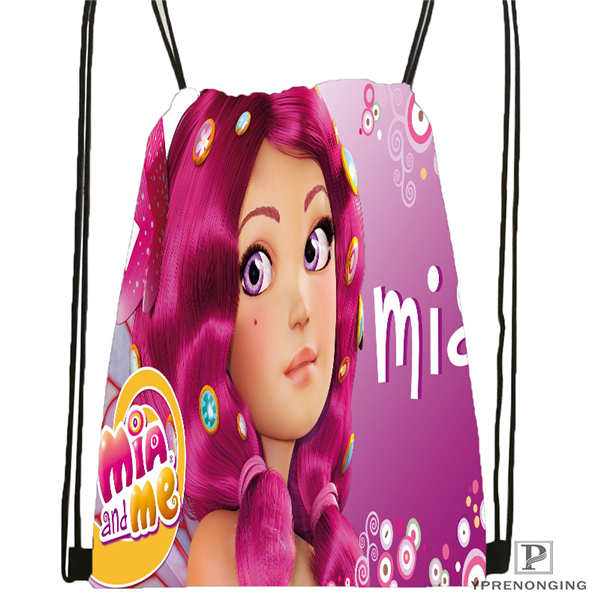 Custom Mia-And-Cartoon Me@1-Drawstring Backpack Bag For Man Woman Cute Daypack Kids Satchel (Black Back) 31x40cm#20180611-03-140