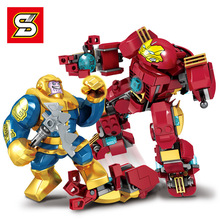 8pcs Super Heroes Figures Iron Man Mech VS Thanos  Model Building Blocks Figure Toys Gift B755