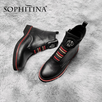 SOPHITINA Spring Ankle Boots High Quality Genuine Leather Handmade Casual Comfortable Round Toe Shoes Women's Zipper Boot SC526 mycolen brand quality genuine leather winter boots comfortable black men shoes men casual handmade round toe zip wear boots