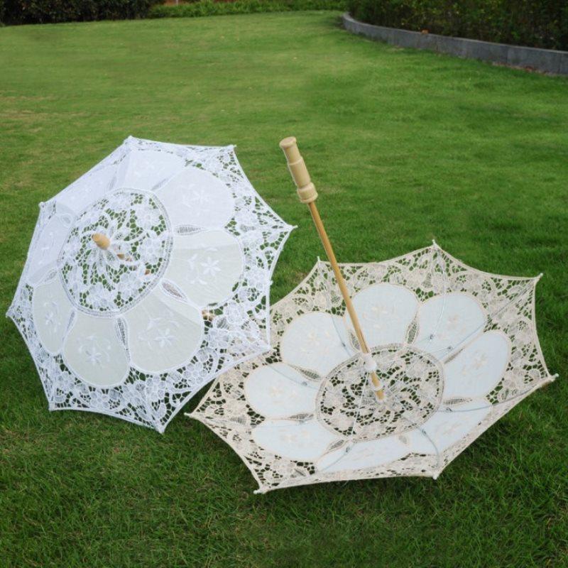 1PC White Beige Lace Parasol Umbrella Wedding Elegant Cotton Embroidery Umbrella