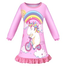 Baby Girl unicorn Dress Children Party Clothes For Birthday  Rainbow Vestidos print 6309