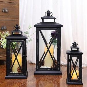 Ветрозащитный подсвечник, металлический большой черный свадебный современный дизайн, морокканский подсвечник, декоративное украшение для...