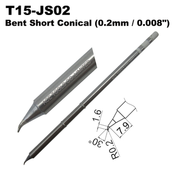 T15-JS02 Bent Conical 0.2mm Soldering Tip for HAKKO FX-951 FX-950 FX-952 FX-9501 FM-2028 FM2027 Handle Iron Bit Replacement image