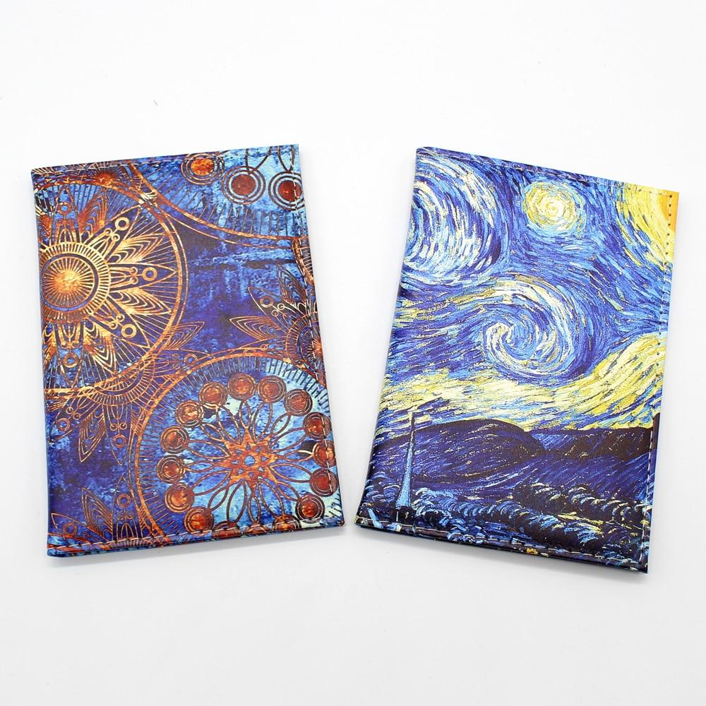 Exquisite Art Style Passport Protective Cover Van Gogh Starry Sky Women Leather Passport Holder Men Travel ID Passport Wallet