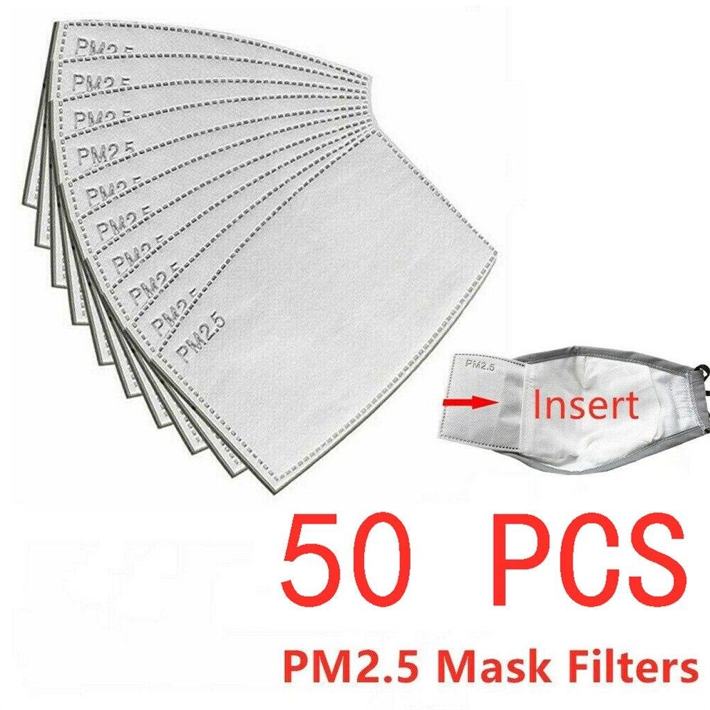 Filtros Pm25 de 5 capas para mascarillas, máscara con filtro antipolvo, Pm25, para adultos, máscaras de tejido, máscara de Cosplay para Halloween, 50 Uds.