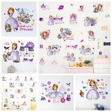 cartoon disney sofia princess castle wall stickers bedroom nursery home decor diy anime decals pvc wallpaper mural art