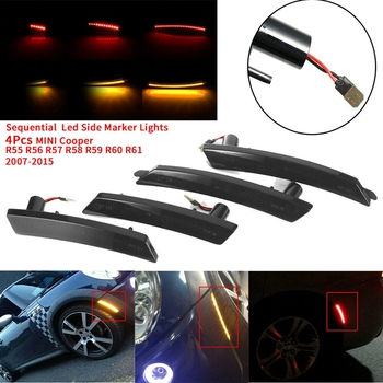 4Pcs Sequential Smoked Lens Amber/Red Led Side Marker Lights for MINI Cooper R55 R56 R57 R58 R59 R60 R61 2007-2015