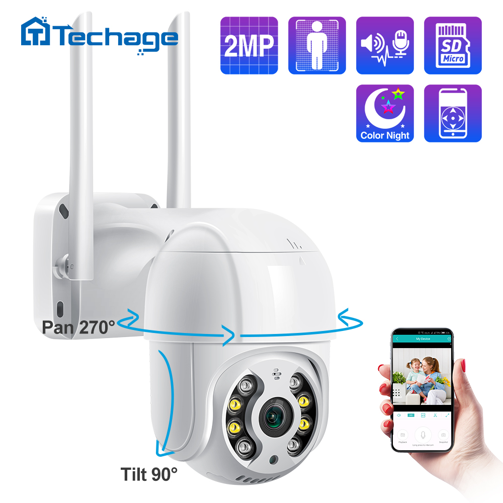 Techage 1080P 2MP Outdoor Speed Dome Drahtlose PTZ IP Kamera WIFI Zwei Weg Audio AI Menschliches Erkennen Onvif Sicherheit CCTV Überwachung