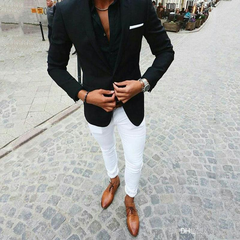 Black Suits For Business Man Outfits Wedding Tuxedo White Pants Groom Wear Costume Homme Two Piece Slim Fit Terno Masculino
