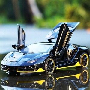 Спортивный автомобиль из 1:32 сплава, литая модель, звук и светильник, игрушечный автомобиль, детский подарок на день рождения, Супер Гонки, мо...
