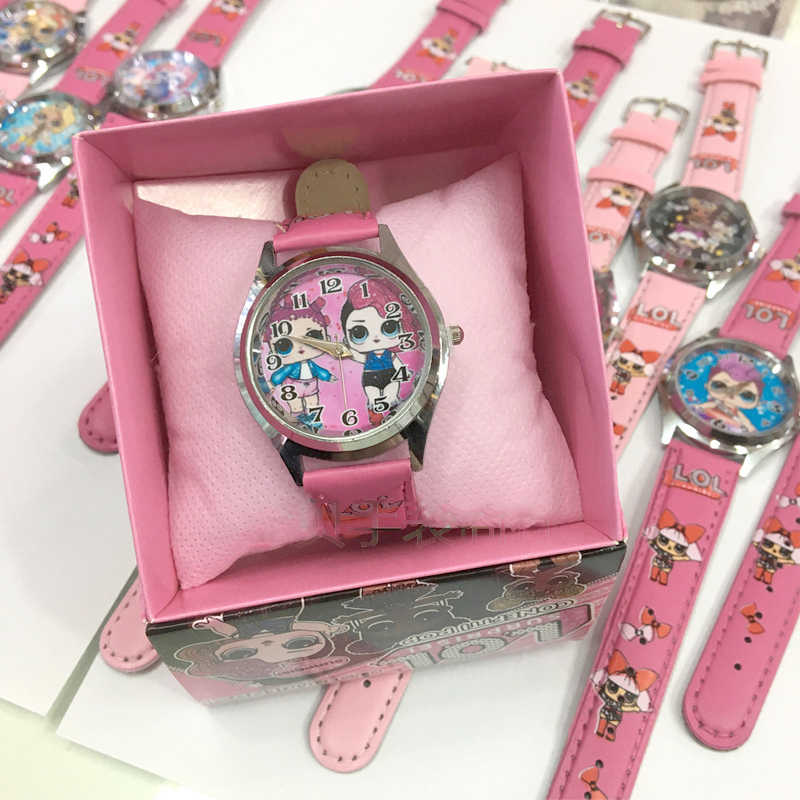 Original Lol Surprise Watch Girl Anime Cartoon Doll Pattern Toy Accessories Leather Kid Birthday Christmas Halloween Gift