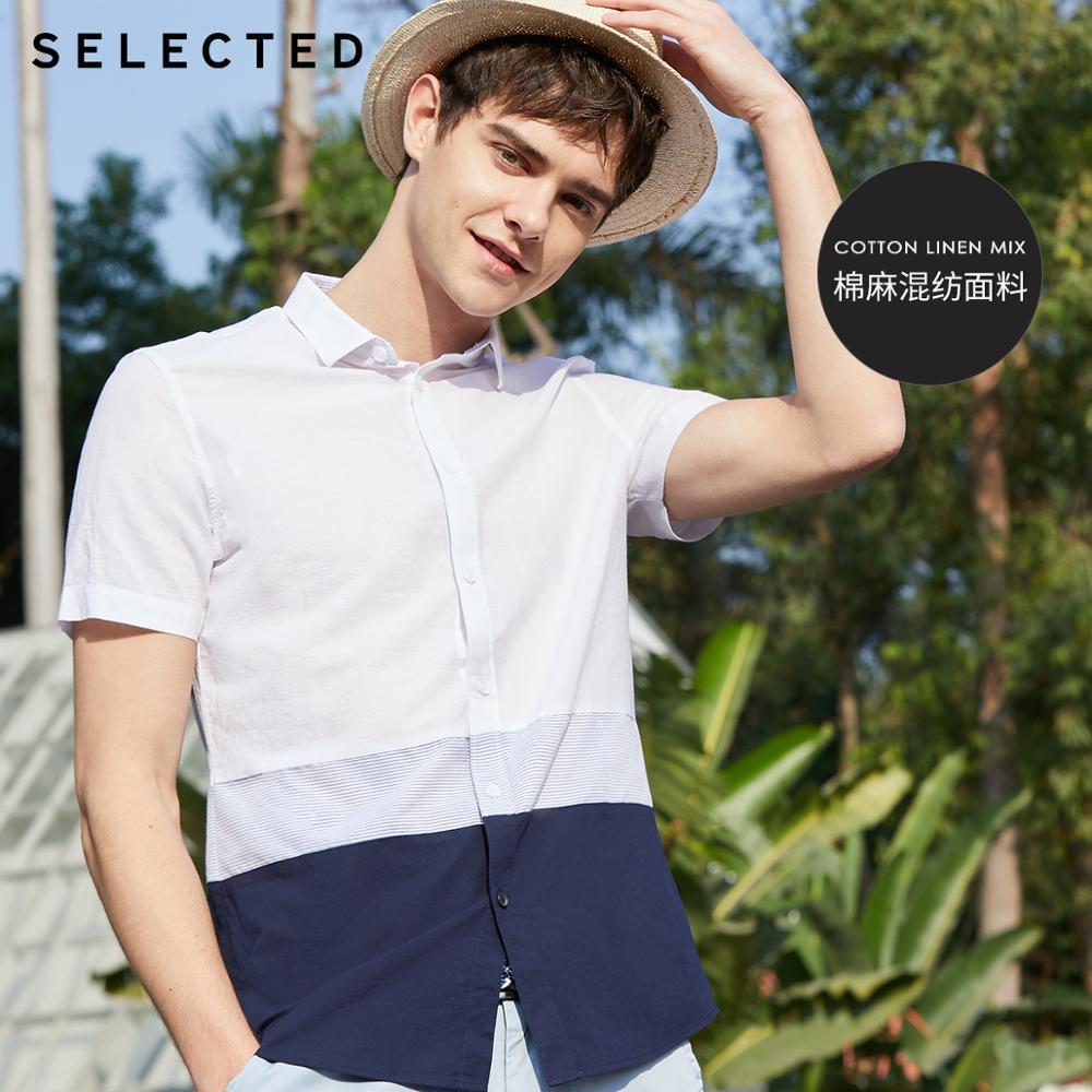 SELECTED Men's Cotton & Linen Assorted Colors Short-sleeved Shirt S|419204514