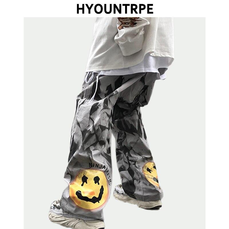 Irregular Tie-dye Pants Mens Casual Straight Zipper Trouser Hip Hop Harajuku Printed Streetwear Spring New Loose Joggers Pants