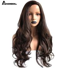 Anogol peluca sintética Perruque de fibra de alta temperatura para mujer, pelo completo de cuerpo largo, Peruca profunda, #2, marrón oscuro