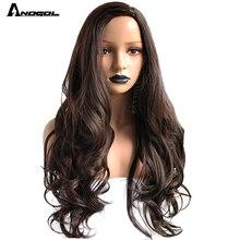 Парик Anogol из высокотемпературного волокна, длинные волнистые волосы, #2, темно коричневый синтетический для женского костюма