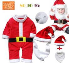 Newborn baby Christmas Performance Clothes Winter Wear Thicken Rompers+Hats Toddler Cosplay Santa Claus Rompers onesies