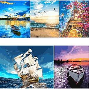 Краски по номерам Пейзажи Картины масляные рисунки по номерам корабль домашнее украшение полный набор Раскрашивание по номерам Прямая пос...