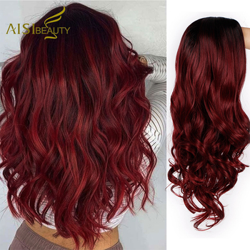 AISI BEAUTY Ombre Long Wavy Red Wigs Blonde Cosplay Synthetic Wigs Female Daily Party Heat Resistant Grey Brown Black False Hair 1