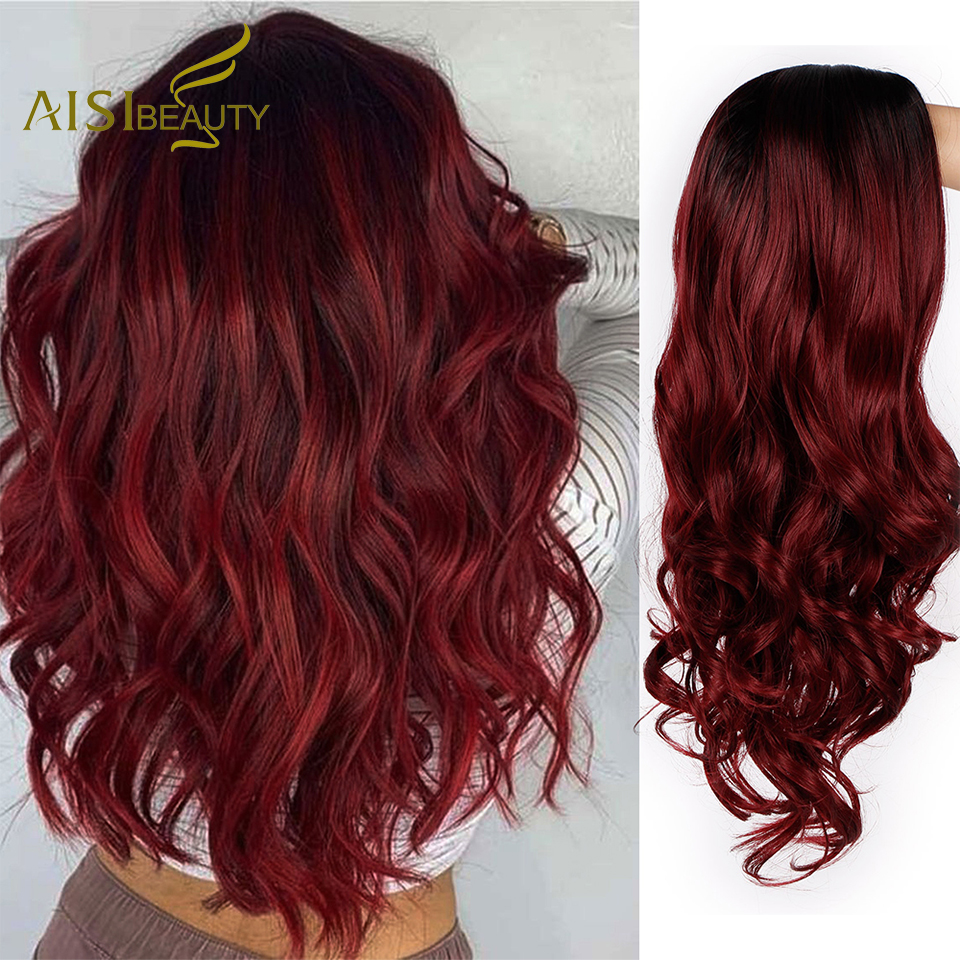 AISI BEAUTY Ombre Long Wavy Red Wigs Blonde Cosplay Synthetic Wigs Female Daily Party Heat Resistant Grey Brown Black False Hair