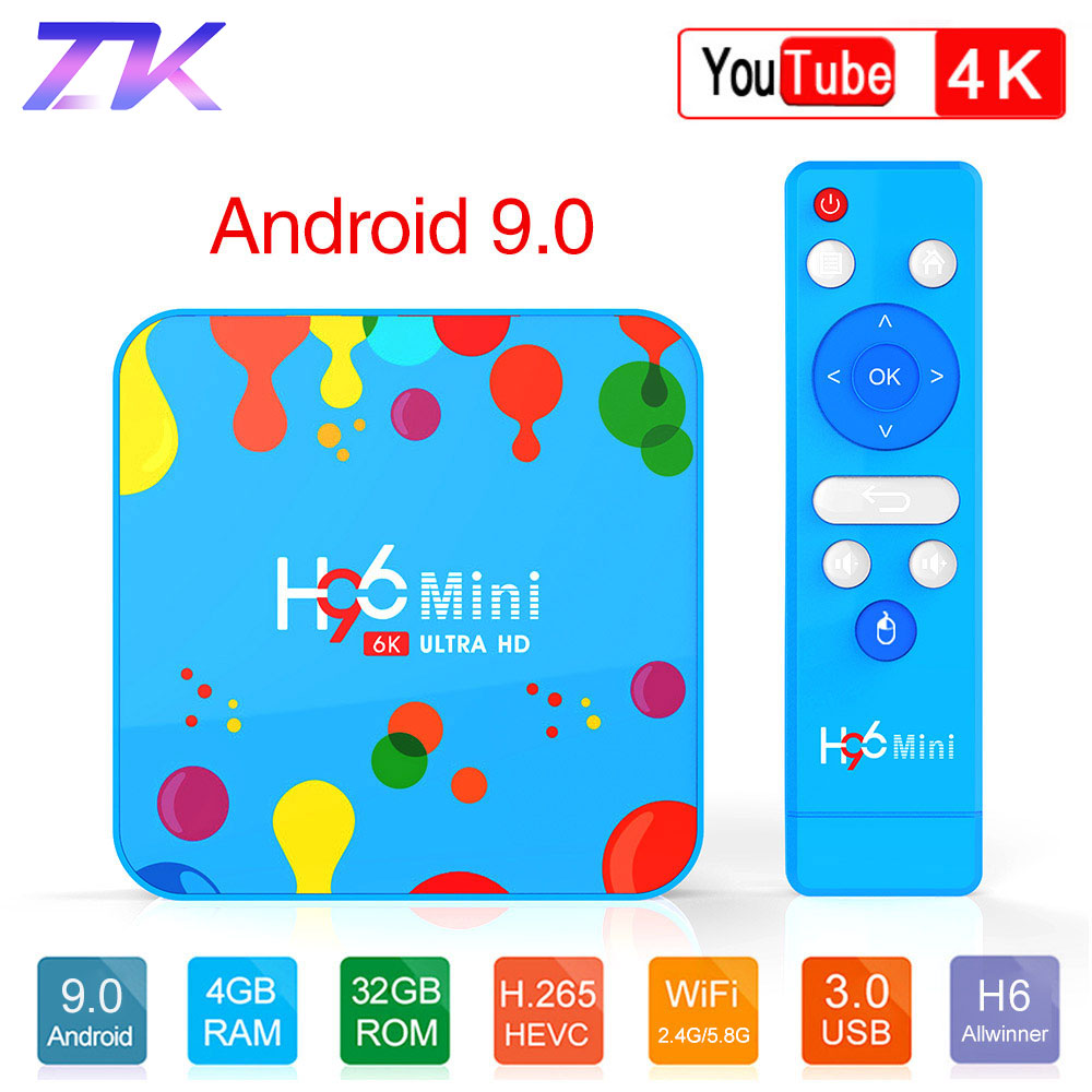 Android 9.0 TV Box 4GB 32GB 128GB H96 Mini Allwinner H6 Quad Core 6K H.265 Wifi HD Google lecteur Youtube décodeur PK H96 MAX