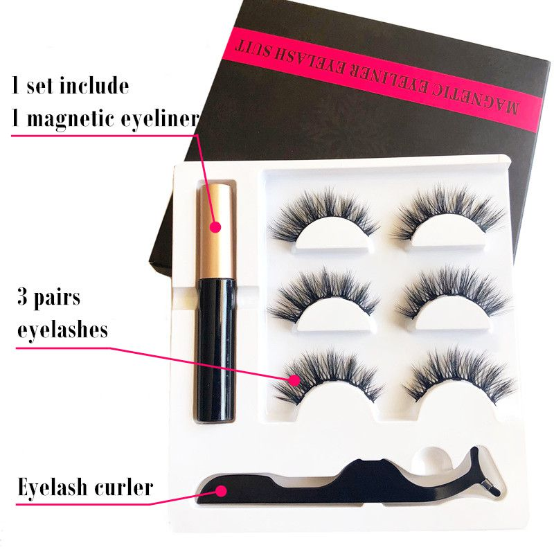 3 Pairs 5 Magnet False <font><b>Eyelashes</b></font> <font><b>Set</b></font> with <font><b>Magnetic</b></font> Liquid <font><b>Eyeliner</b></font> <font><b>And</b></font> Tweezers Waterproof Long Lasting Natural Faux Lashes image