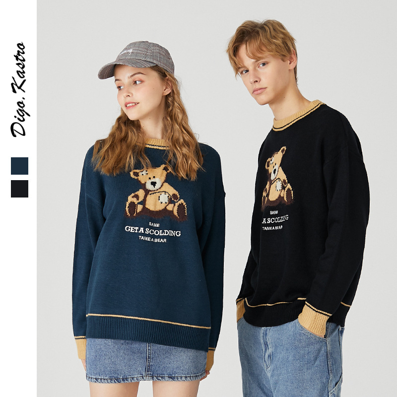 2019 Original Bear Pattern Sweater Men / Women Campus Style Loose Sweater Winter Trends Couple Oversize Sweater