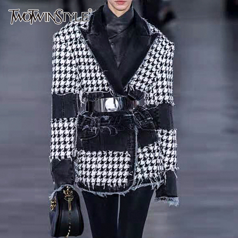TWOTWINSTYLE Plaid Hit Color Patchwork Denim Blazer For Women Notched Long Sleeve Tassel Pocket Female Suit Autumn New 2019