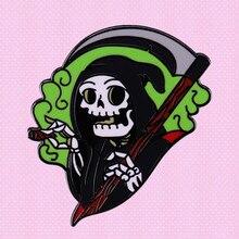 Goth Brooch Badge Death-Sickle Grim Reaper Killer Smoking Green Skull Fire-Flame Enamel-Pin