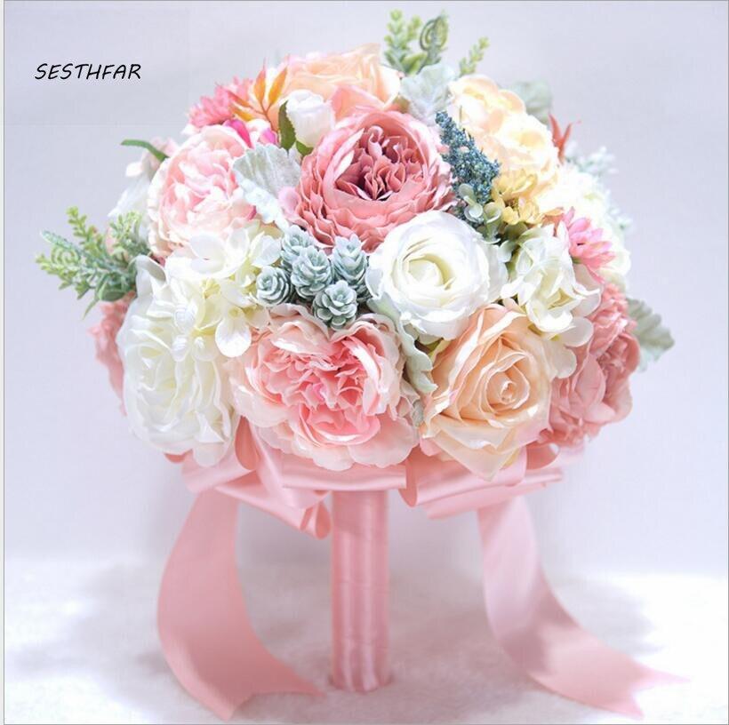 Rose Bouquets de mariée belle couleur Rose pourpre mariée demoiselle d'honneur fleur Bouquet de mariage fleur artificielle SPH044