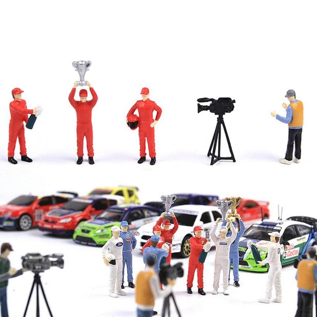 5 pces 1/64 mini carro de corrida modelo motorista pessoas e cameraman figuras para, siku,, roda fogo