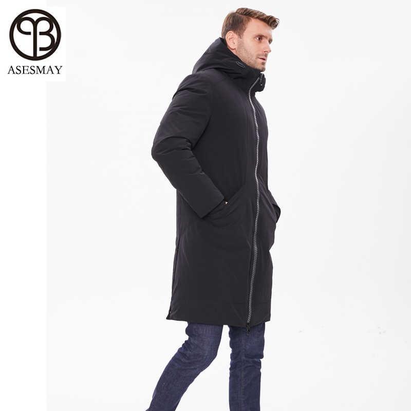 Бренд Asesmay, Новое поступление, мужской пуховик, мужское пальто, зимняя парка с гусиным пером, толстая, с капюшоном, повседневная, удлиненная, выше колена, парка, куртки