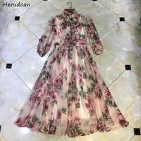 Herudoan Fashion Designer Autumn Holiday Dress Women Elegant Bow Collar Rose Floral Print Chiffon Bohemian Vacation Long Dresses